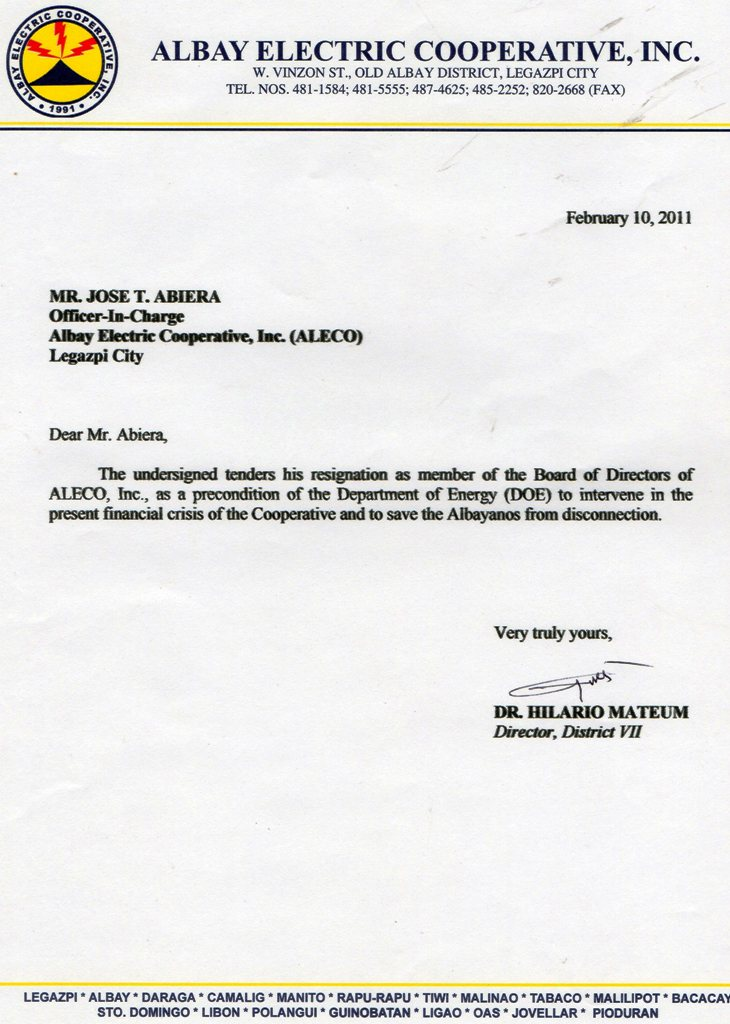 Entire Aleco BOD now resigned with resignation letter of Dir – Email Resignation Letters